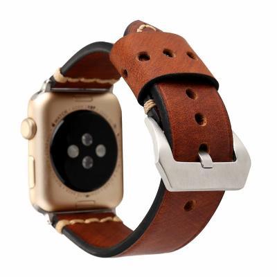 Коричневый кожаный ремешок для apple watch 38 мм AW42-01