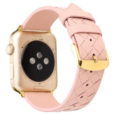 Розовый кожаный ремешок для apple watch 38 мм AW43-01