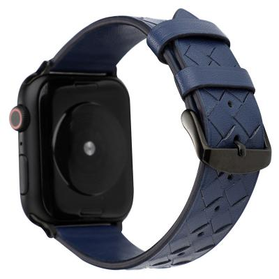 Синий кожаный ремешок для apple watch 38мм AW43-02