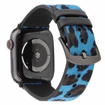 Синий кожаный ремешок с леопардовым принтом для apple watch 38 мм AW44-01