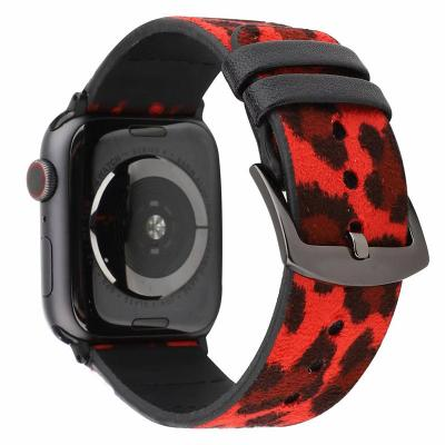 Красный кожаный ремешок для apple watch 38мм с принтом леопарда AW44-02