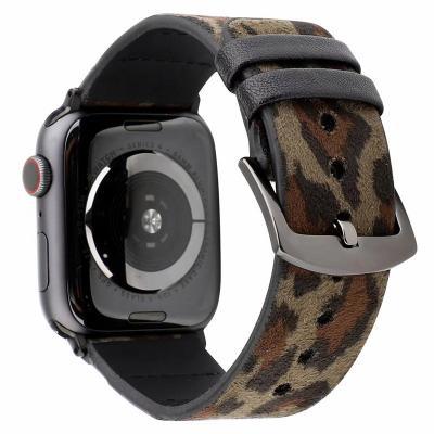 Кожаный ремешок для apple watch 42мм цвета хаки леопард AW44-103