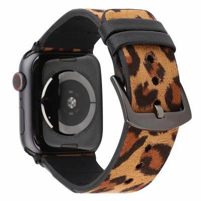 Желтый леопардовый ремешок для apple watch 38мм из кожи AW44-05
