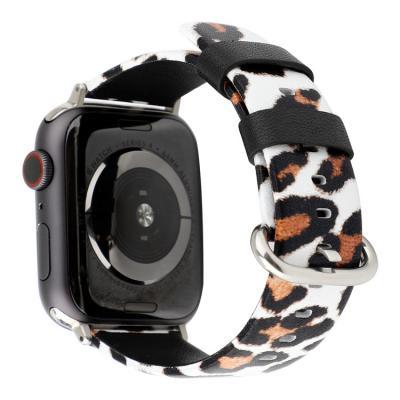 Бело-оранжевый кожаный ремешок с леопардовым принтом для apple watch 42 мм AW45-101
