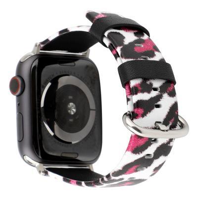 Бело-розовый кожаный ремешок для apple watch 38мм с принтом леопарда AW45-02