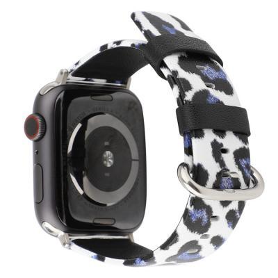 Ремешок для apple watch 38мм из кожи бело-синий леопардовый принт AW45-04