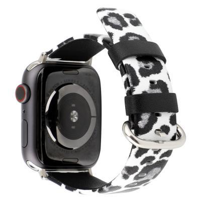 Бело-серый леопардовый ремешок для apple watch 42мм из кожи AW45-105
