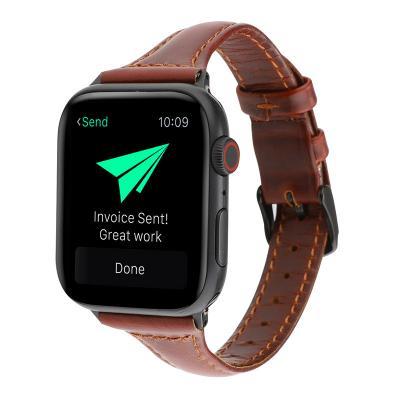 Коричневый узкий кожаный ремешок для apple watch 42мм AW47-101