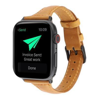 Светло-коричневый узкий кожаный ремешок для apple watch 42мм AW47-102