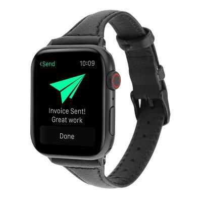 Кожаный узкий ремешок для apple watch 38мм черный AW47-03