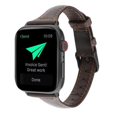 Узкий кожаный ремешок для apple watch 38мм темно-коричневый AW47-04