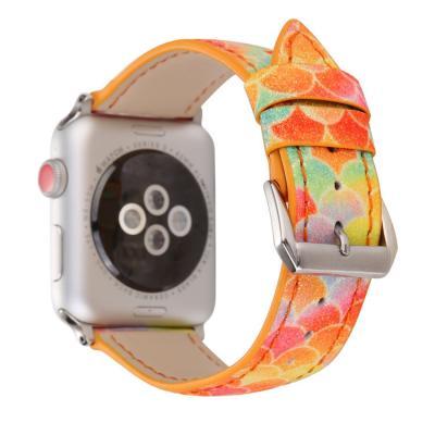 Кожаный оранжевый ремешок для apple watch 42мм AW48-103