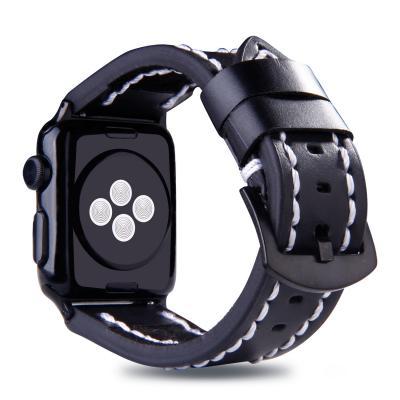 Черный кожаный ремешок для apple watch 38 мм с прошивкой AW49-01