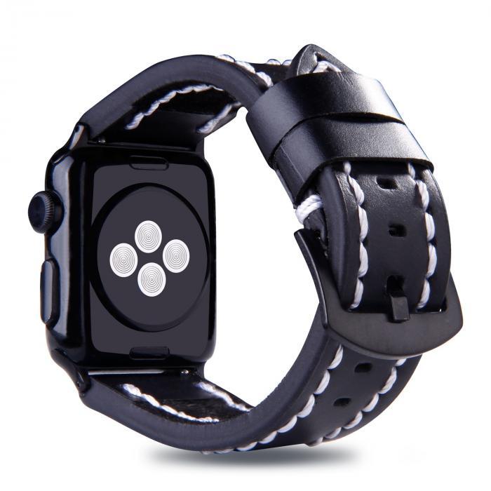 Черный кожаный ремешок для apple watch 42 мм с прошивкой AW49-101