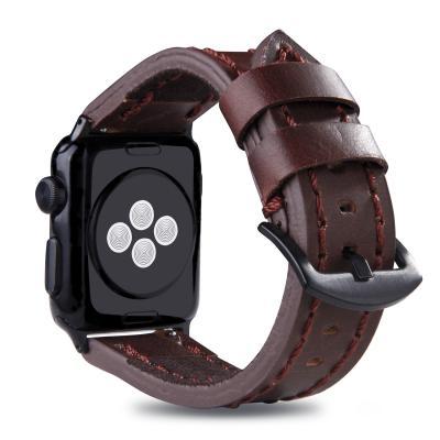 Коричневый кожаный ремешок для apple watch 38мм с прошивкой AW49-02