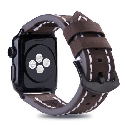 Кожаный темно-коричневый ремешок для apple watch 42мм с прошивкой AW49-103