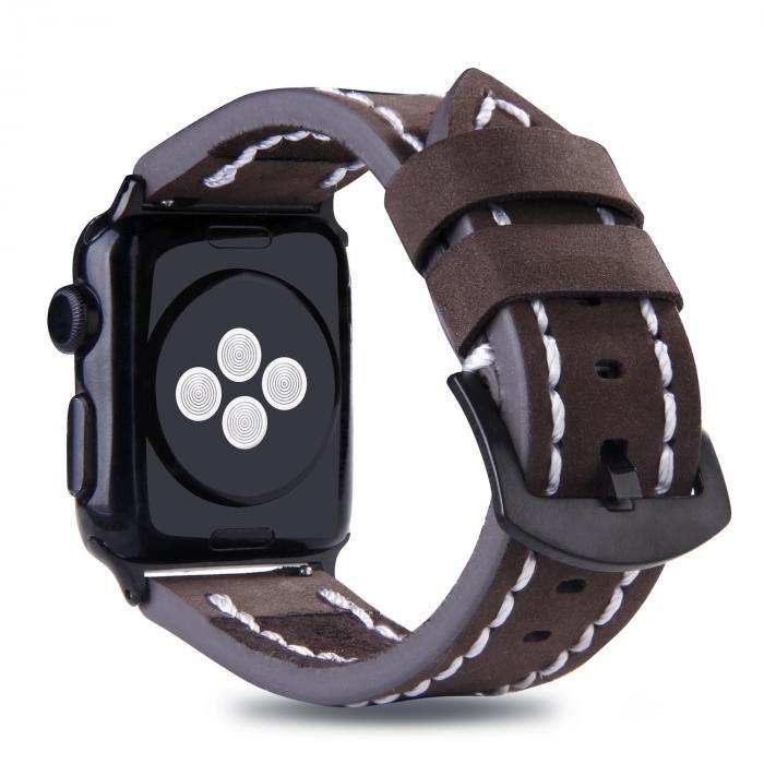 Кожаный темно-коричневый ремешок для apple watch 38мм с прошивкой AW49-03