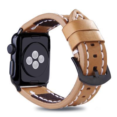 Ремешок с прошивкой для apple watch 38мм из кожи светло-коричневый AW49-04