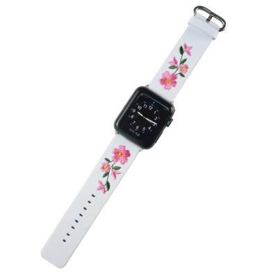 Ремешок для apple watch 42 мм кожаный белый с вышивкой AW50-101