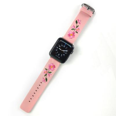 Розовый кожаный ремешок с вышивкой для apple watch 38мм AW50-02