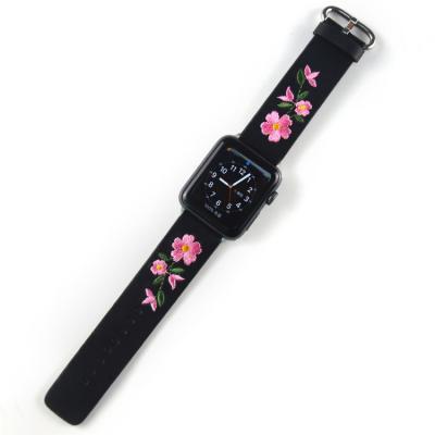 Кожаный черный ремешок для apple watch 38мм с вышивкой AW50-03