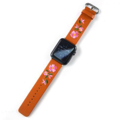 Черный ремешок для apple watch 42мм из кожи с вышивкой AW50-104