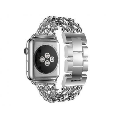 Серебристый черный ремешок из стали для apple watch 38 мм AW51-03