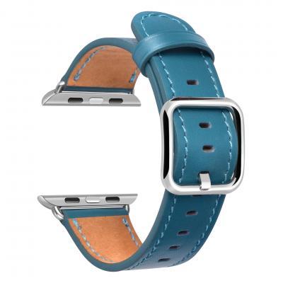 Кожаный голубой ремешок для apple watch 38мм AW52-03