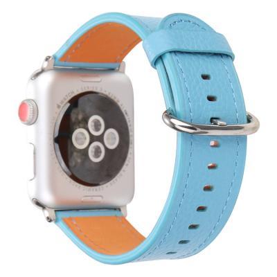 Голубой кожаный ремешок для apple watch 38 мм AW53-01