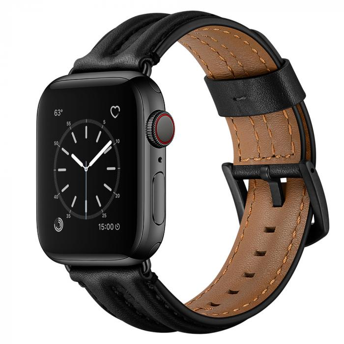 Черный кожаный ремешок для apple watch 42мм AW54-101