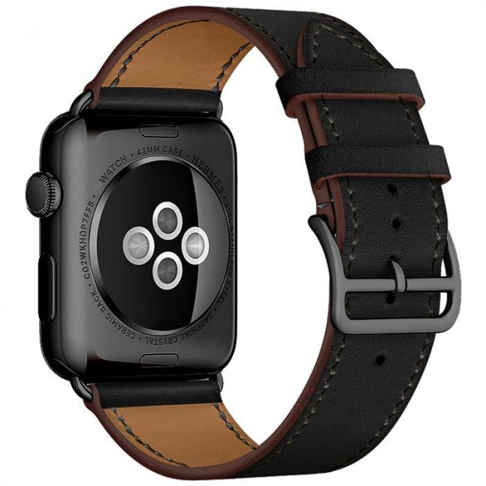 Черный кожаный ремешок для apple watch 38мм AW55-01