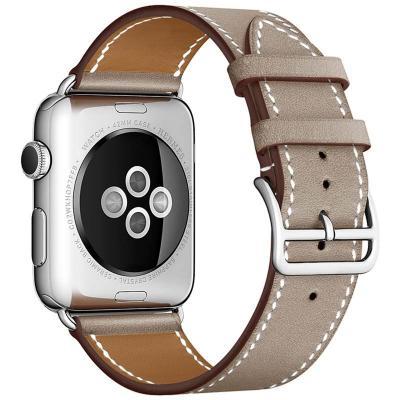 Коричнево-серый кожаный ремешок для apple watch 38мм AW55-04