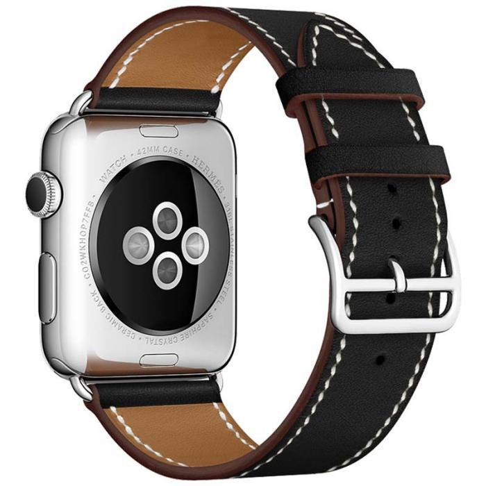 Черный кожаный ремешок для apple watch 38мм AW55-08