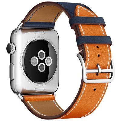 Ремешок для apple watch 38мм оранжево-синий из кожи AW55-10