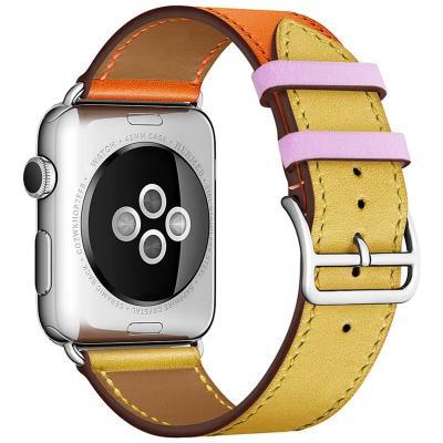 Желто-оранжевый кожаный ремешок для apple watch 38мм AW55-11