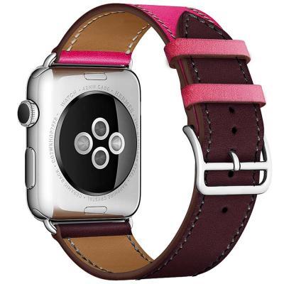 Кожаный ремешок для apple watch 38мм коричнево-розовый AW55-12