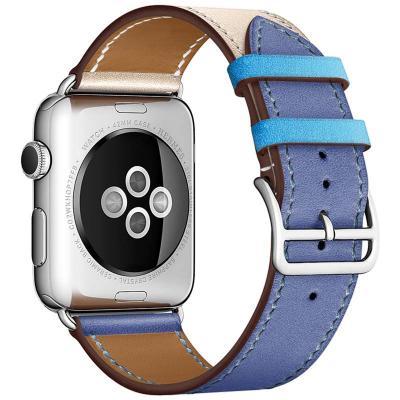 Сине-бежевый кожаный ремешок для apple watch 38мм AW55-13