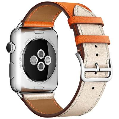 Бежево-оранжевый кожаный ремешок для apple watch 38мм AW55-14