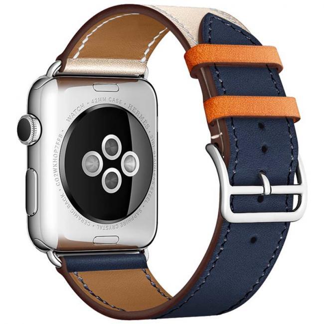 Бежево-синий кожаный ремешок для apple watch 38мм AW55-13