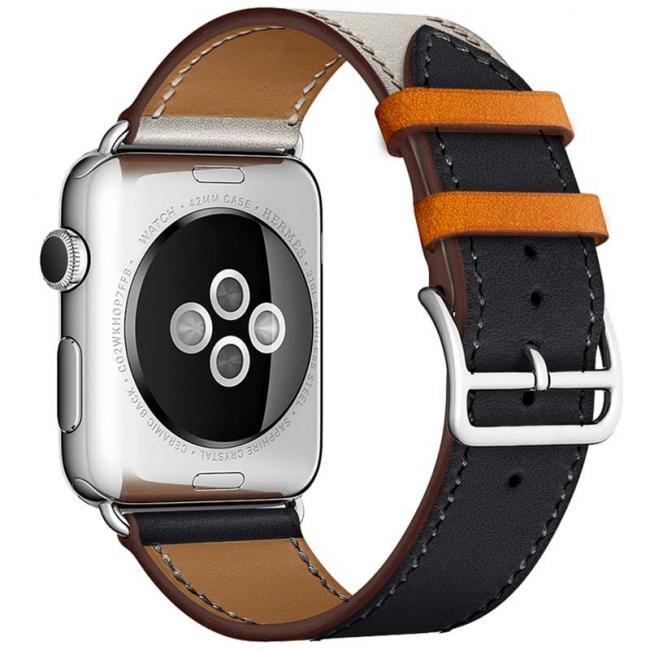 Бежево-черный кожаный ремешок для apple watch 38мм AW55-14