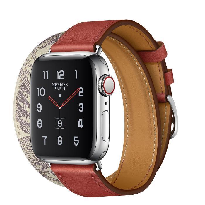 Красный кожаный ремешок для apple watch 38-40мм на 2 оборота с рисунком AW56-01