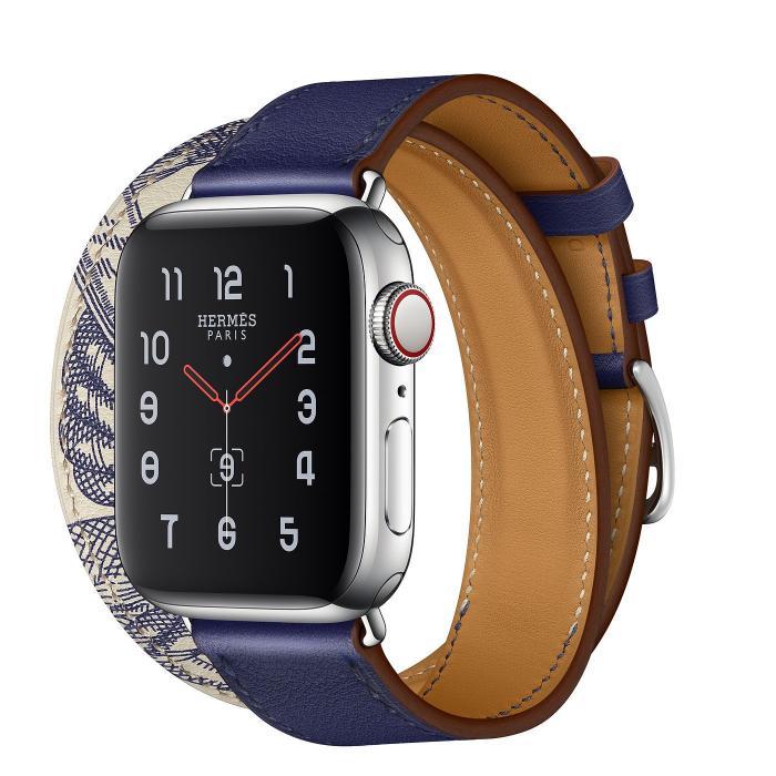 Синий кожаный ремешок для apple watch 38-40мм на 2 оборота с рисунком AW56-02