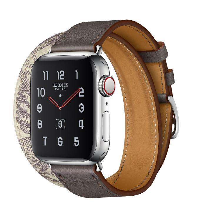 Серый кожаный ремешок для apple watch 38-40мм на 2 оборота с рисунком AW56-03