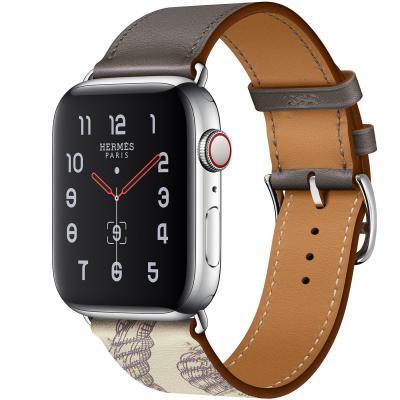 Серый кожаный ремешок для apple watch 38-40мм с рисунком AW57-03