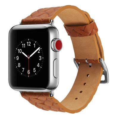 Ремешок для apple watch 38-40мм кожаный с плетеным рисунком оранжевый AW59-01