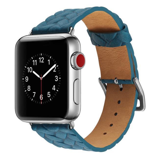 Ремешок для apple watch 38-40мм кожаный с плетеным рисунком синий AW59-02