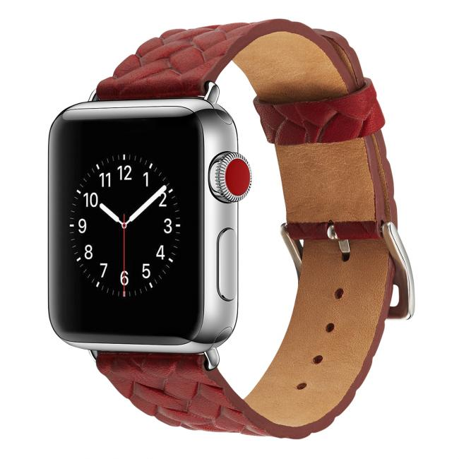 """<Font html:Color=""""#000000"""">Ремешок для apple watch 38-40мм кожаный с плетеным рисунком</Font><B><Font html:Color=""""#000000""""> </Font></B><Font html:Color=""""#000000"""">красный AW59-03 </Font>"""