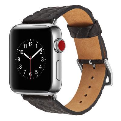 Ремешок для apple watch 38-40мм кожаный с плетеным рисунком черный AW59-04