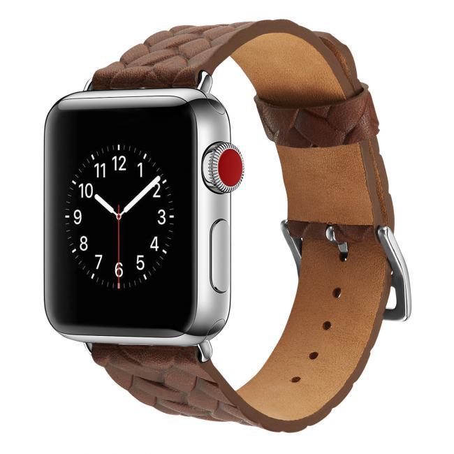 Ремешок для apple watch 38-40мм кожаный с плетеным рисунком коричневый AW59-05