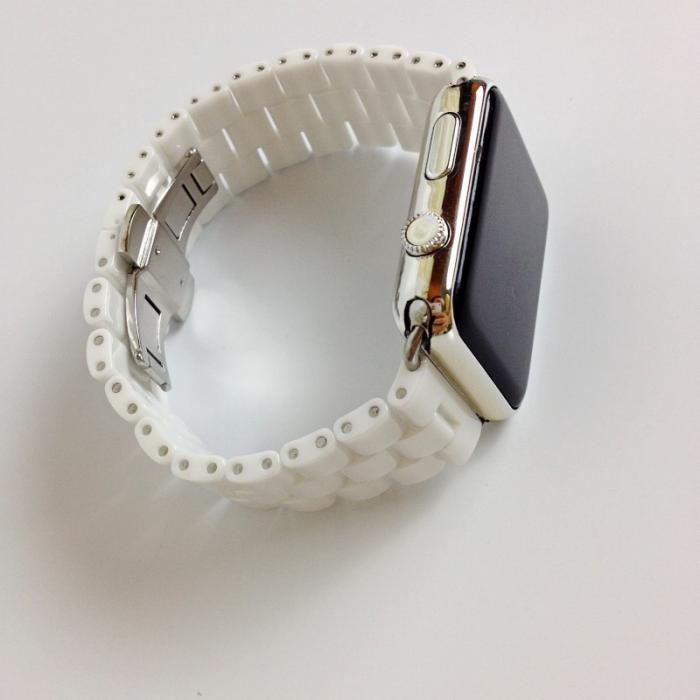 Белый керамический ремешок для apple watch 42мм AW6-102